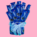 Oreo Cookie Bouquet with blue ribbon